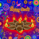 Diwali decorated diya for light festival of India. Vector design of Diwali decorated diya for light festival of India in Indian art style
