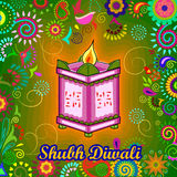 Diwali decorated diya on Tulsi plant stand for light festival of India in Indian art style. Vector design of Diwali decorated diya on Tulsi plant stand for light royalty free illustration