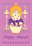 Diwali decorated kalash and diya for light festival of India in Indian art style. Vector design of Diwali decorated kalash and diya for light festival of India Stock Photos