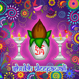 Diwali decorated kalash and diya for light festival of India in Indian art style. Vector design of Diwali decorated kalash and diya for light festival of India Royalty Free Stock Photography