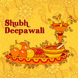 Diwali decorated puja thali for light festival of India Stock Image