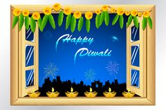 Diwali Decoration. Illustration of diwali diya on window with firework in night sky Royalty Free Stock Image