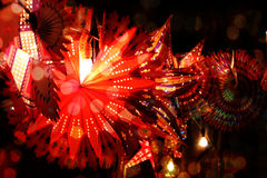 Diwali Decoration. Traditional lanterns lit in festive decoration lights during the Diwali festival in India Royalty Free Stock Photos