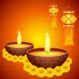 Diwali Decoration. Vector illustration of colorful diwali hanging lantern with diya