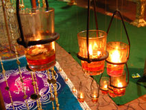 Diwali Decoration. Decoration of beautiful lamps in glass during Diwali festival in India Royalty Free Stock Photos