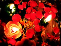 Diwali decoration with petals of rose and candles. Decorated with lamps and roses during festival of diwali Stock Image
