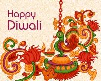 Diwali decorou o diya Fotos de Stock Royalty Free