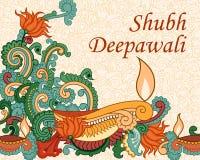 Diwali decorou o diya Fotografia de Stock Royalty Free