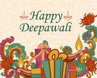 Diwali decorou o diya e o presente Fotografia de Stock Royalty Free