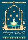 Diwali dekorował diya dla lekkiego festiwalu India Obraz Royalty Free