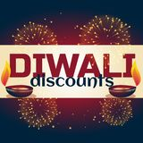 Diwali discount background with two diya and fireworks. Vector Royalty Free Stock Photography