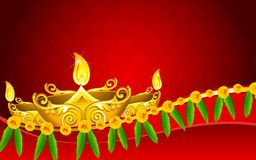 Diwali Diya. Illustration of decorated golden diya for Diwali