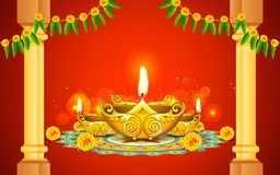 Diwali Diya. Illustration of decorated golden diya for Diwali stock illustration