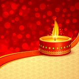 Diwali Diya. Vector illustration of decorated Diwali diya against abstract background