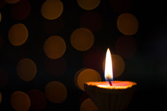 Diwali Diya. With bokeh in background Stock Image