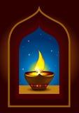 Diwali Diya en un arco de la ventana - ilustración