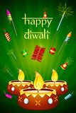 Diwali Diya with Fire Cracker. Illustration of decorated diwali diya with fire cracker Stock Image