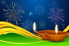 Diwali Diya. Illustration of Diwali diya on firework backdrop Royalty Free Stock Photo