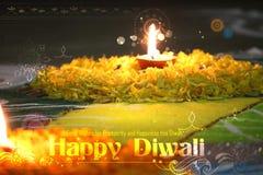 Diwali diya na kwiatu rangoli obraz royalty free