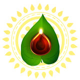 Diwali diya on pan leaf Stock Photos