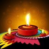 美丽的愉快的diwali diya rangoli印度节日设计backgr 库存图片