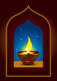 Diwali Diya on a window arch -  illustration Stock Photo