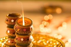 Diwali diyas i światła Zdjęcia Royalty Free