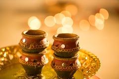 Diwali diyas i światła Zdjęcie Stock
