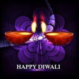 美好的愉快的diwali diya印度节日发光的背景vect 库存照片