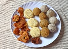 Diwali dusserah sweets snacks Stock Photography