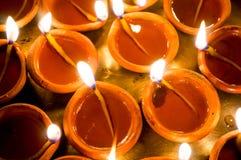 Diwali earthenware oil lamps, diyas Royalty Free Stock Images