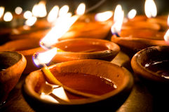 Diwali earthenware oil lamps, diyas Royalty Free Stock Photos