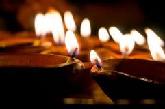 Diwali earthenware oil lamps, diyas Stock Photos