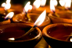 Diwali earthenware oil lamps, diyas Stock Photography