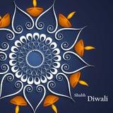 Diwali för bakgrund för härliga garneringblått färgrik diya stock illustrationer