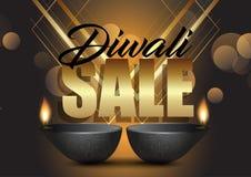 Diwali försäljningsbakgrund med olje- lampor stock illustrationer
