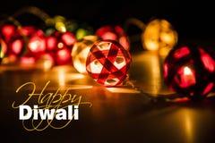 Diwali feliz - cartão do diwali com diya iluminado Foto de Stock