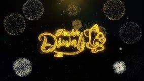 Diwali feliz de Shubh escrito las partículas del oro que estallan la exhibición de los fuegos artificiales
