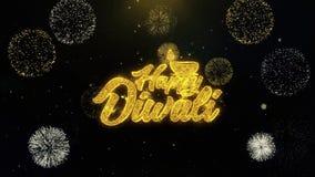 Diwali feliz de Shubh escrito las part?culas del oro que estallan la exhibici?n de los fuegos artificiales ilustración del vector