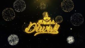 Diwali feliz del diwali de Shubh escrito las partículas del oro que estallan la exhibición de los fuegos artificiales