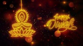 Diwali feliz Dipawali con el texto del festival del texto con las partículas de oro del brillo brillante 10 stock de ilustración