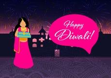 Diwali feliz Diwali feliz Festival indiano tradicional Festival de Diwali da Índia com os presentes no vetor Fotografia de Stock Royalty Free