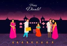 Diwali feliz Diwali feliz Festival indio tradicional Festival de Diwali de la India con los regalos en vector