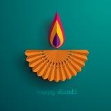 Diwali feliz Gráfico de papel del indio Diya Oil Lamp Design