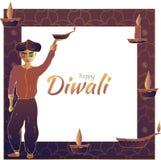 Diwali feliz! Quadro com um hindu que guarda uma lâmpada de óleo, velas e uma inscrição no centro ilustração stock