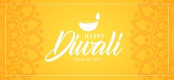 Diwali feliz Tipo letras, ornamento indio y lámpara de la mano del ingenio de la bandera del saludo Stock de ilustración