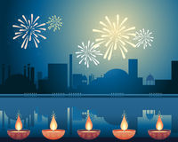 Diwali festival. An illustration of an asian city lit up with fireworks and candles to celebrate the festival of diwali Stock Images