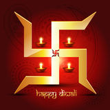 Diwali festival background. Diwali diya with swastik symbol