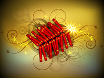 Diwali festival background. Beautiful illuminating fire crackers background for Hindu community festival Diwali or Deepawali in India. EPS 10 Royalty Free Stock Photography