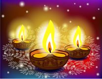 Diwali festival with beautiful lamps. Royalty Free Stock Photos